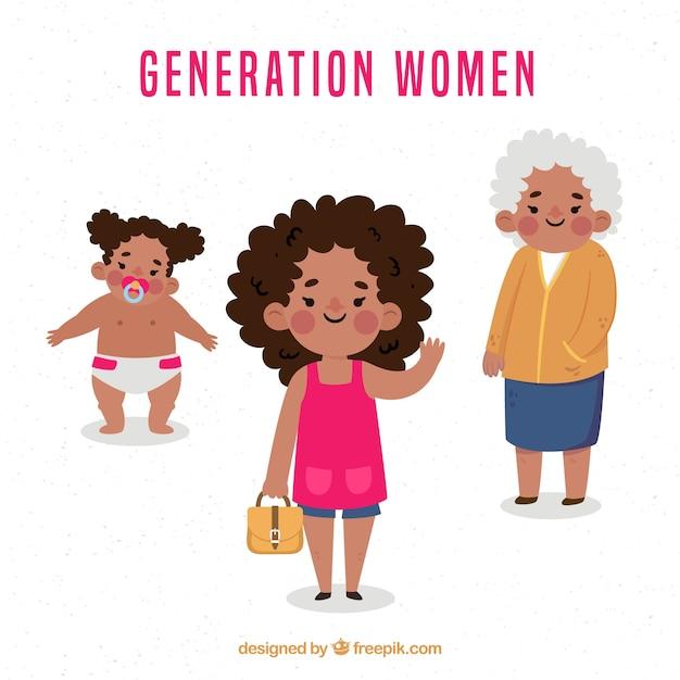 Zwarte vrouwencollectie in verschillende leeftijden Gratis Vector