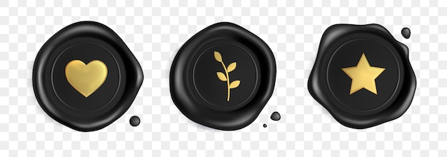 Zwarte zegel waszegels bezet met gouden hart, tak en ster geïsoleerd Premium Vector
