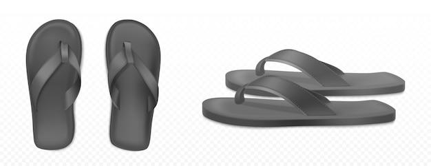 Zwarte zomer rubberen slippers voor strand of zwembad Gratis Vector