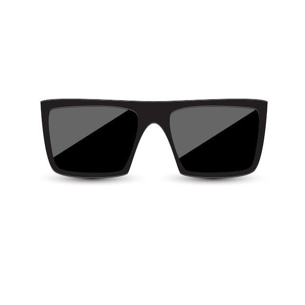 Zwarte zonnebril met donker glas op witte achtergrond. Premium Vector