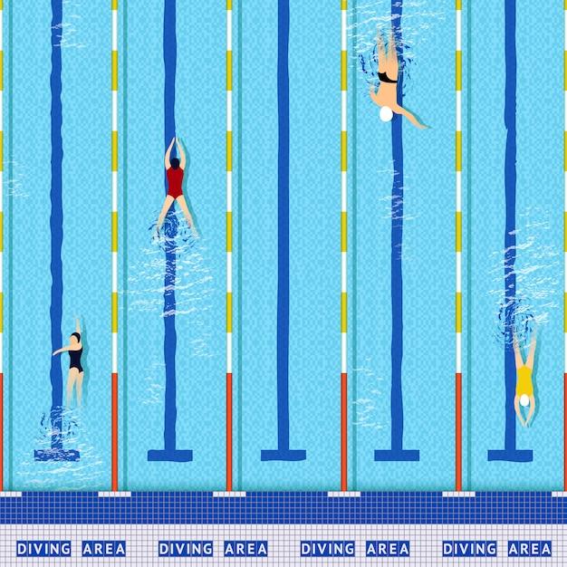 Zwembad bovenaanzicht Gratis Vector