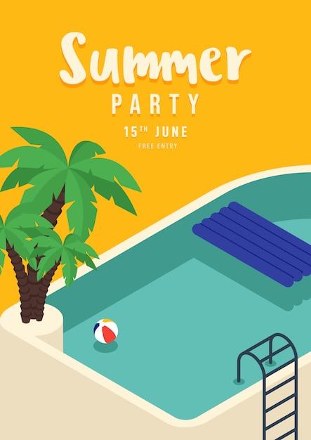 Zwembad met palm zomer partij poster Premium Vector