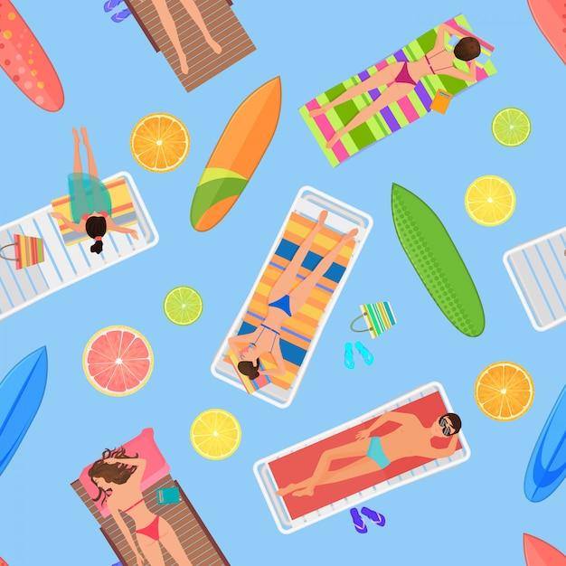 Zwembad naadloze zomer patroon Premium Vector