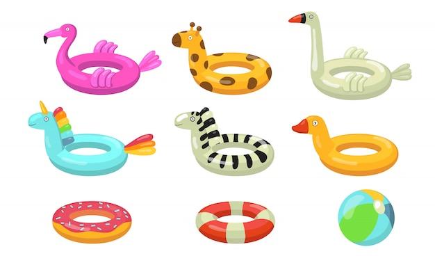 Zwemmen ringen platte pictogramserie Gratis Vector