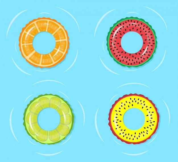 Zwemring. zomertijd ontspannen, zwembad of blauw zeewater op ring van de manier de drijvende buis met fruitwatermeloen, sinaasappel, de illustratie van kalkdrukken Premium Vector