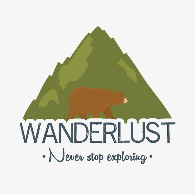 Zwerflust label met landschap en beer grizzly scène Premium Vector