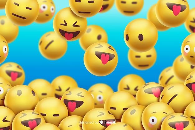 Zwevend emoji's realistisch ontwerp als achtergrond Gratis Vector